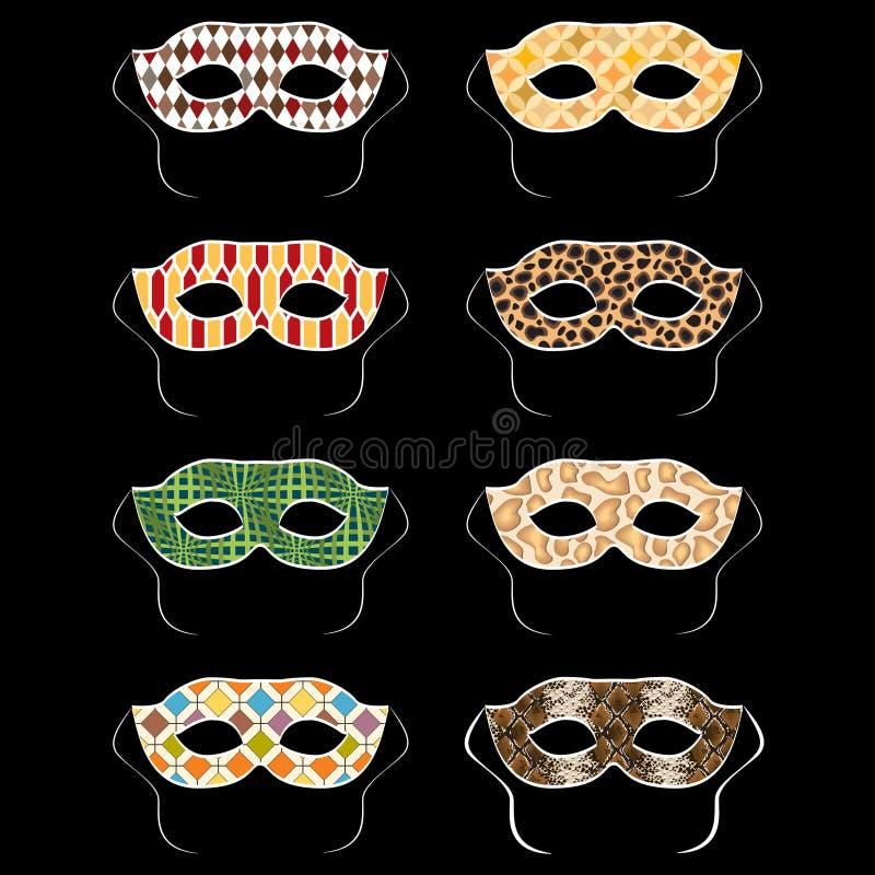 Vektoruppsättning av färgrika maskeringar för karnevalmaskeradboll royaltyfri illustrationer
