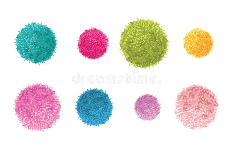 Vektoruppsättning av 8 färgrika Pom Poms Decorative Elements Utmärkt för barnkammarerum, behandla som ett barn handgjorda kort, i royaltyfri illustrationer