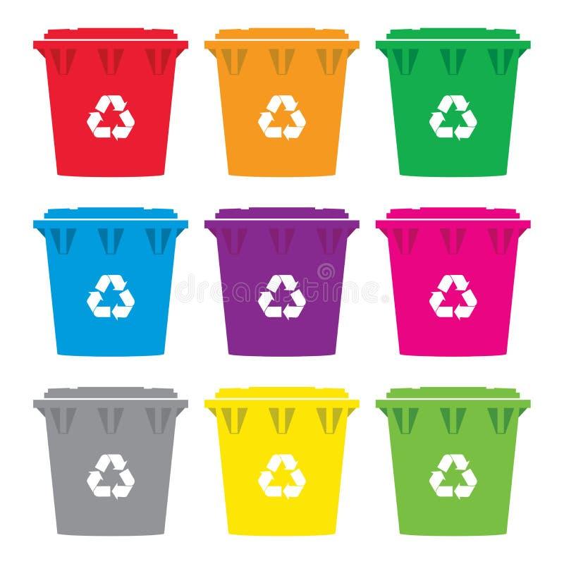 Vektoruppsättning av färgrika symboler för återvinningwheeliefack vektor illustrationer