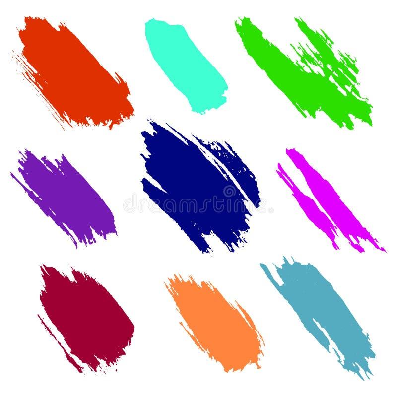 Vektoruppsättning av färgrika vattenfärgfläckar och borsteslaglängder, på den vita bakgrunden stock illustrationer