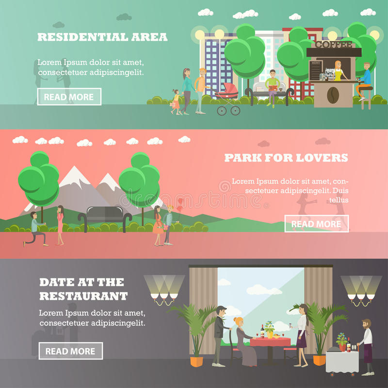 Vektoruppsättning av förälskelsehorisontalbaner i plan stil royaltyfri illustrationer