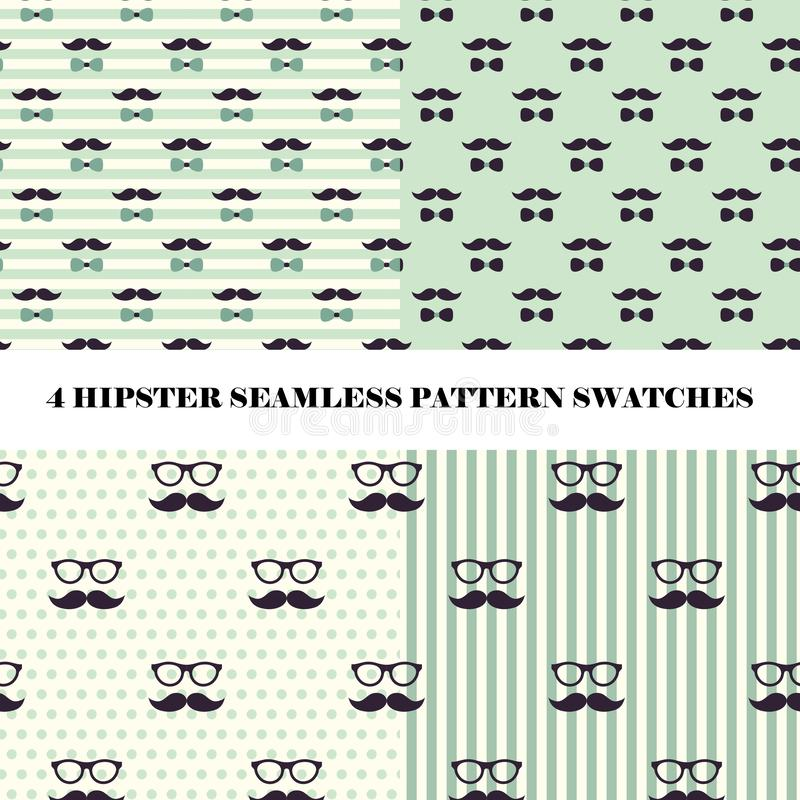 Vektoruppsättning av 4 för repetitionmodell för hipster sömlösa provkartor royaltyfri illustrationer