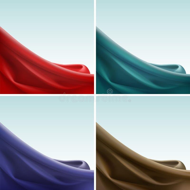 Vektoruppsättning av för torkduketyg för kulör satäng silkeslen förhänge för textil med krabba veck för veck abstrakt bakgrund stock illustrationer
