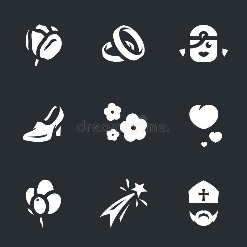 Vektoruppsättning av förbindelsesymboler stock illustrationer