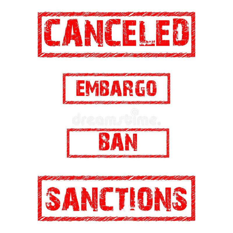 Vektoruppsättning av förbud stock illustrationer