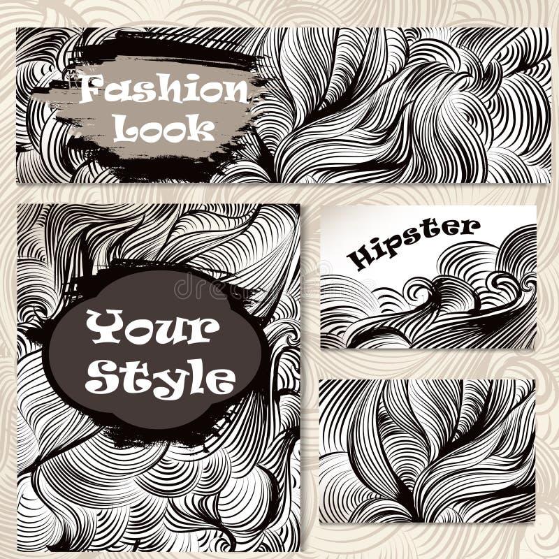 Vektoruppsättning av företags blom- identitetsmallar med handattraktion stock illustrationer