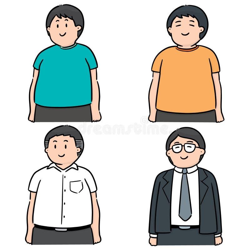 Vektoruppsättning av fett folk vektor illustrationer