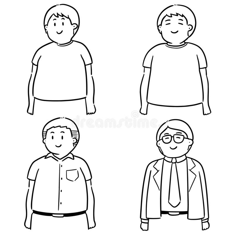 Vektoruppsättning av fett folk stock illustrationer