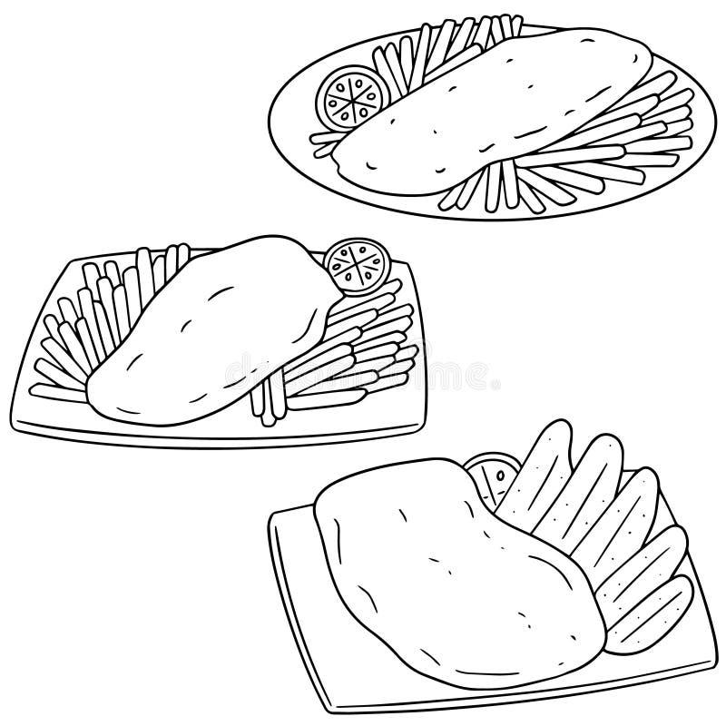 Vektoruppsättning av fisk och chiper stock illustrationer