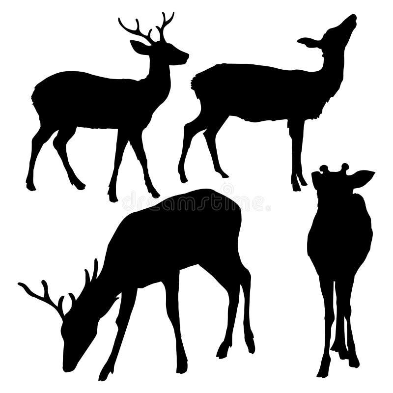 Vektoruppsättning av fläckiga hjortar Silhouetttes royaltyfri illustrationer