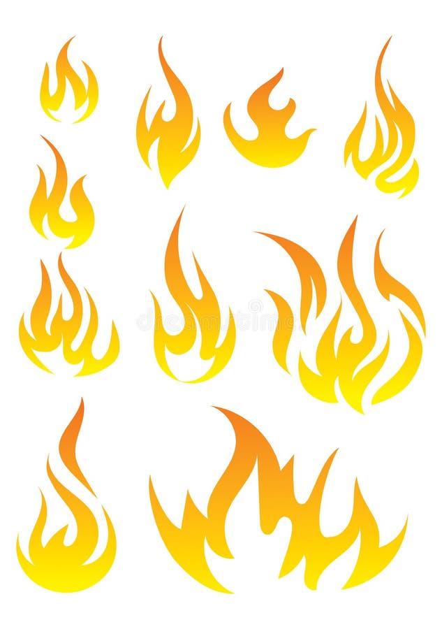 Vektoruppsättning av flamman En samling av stiliserade bränder göra sammandrag brand vektor illustrationer