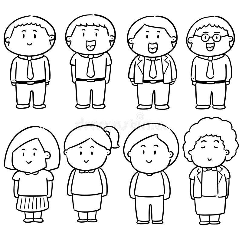 Vektoruppsättning av folk royaltyfri illustrationer