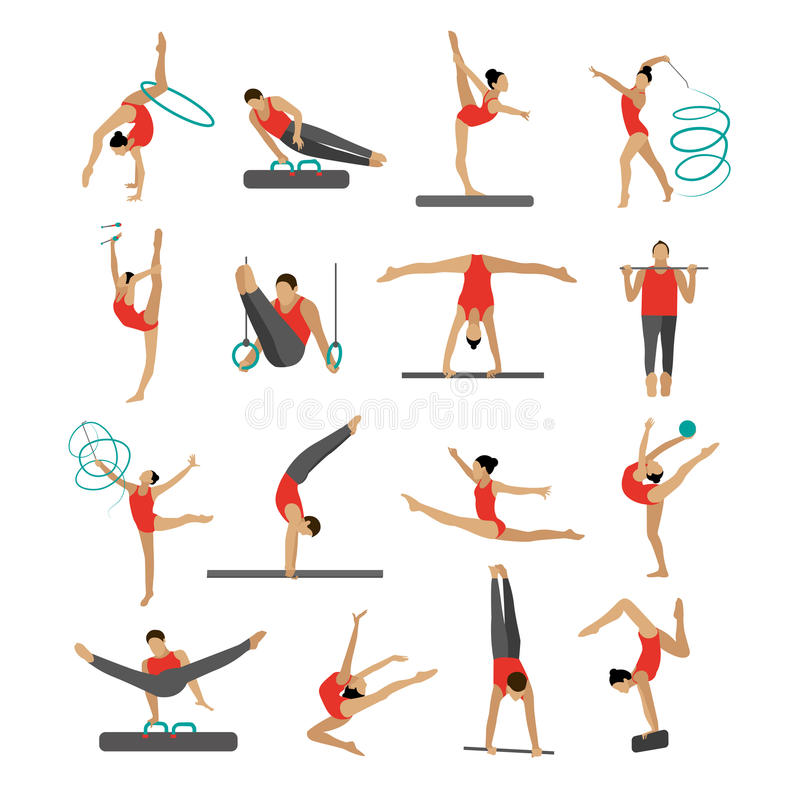 Vektoruppsättning av folk i gymnastiska positioner för sport royaltyfri illustrationer