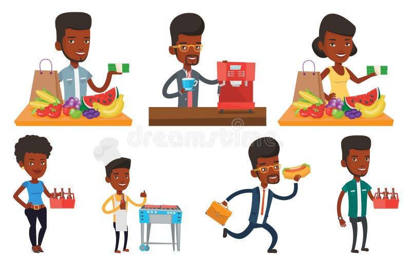 Vektoruppsättning av folk som äter och dricker vektor illustrationer