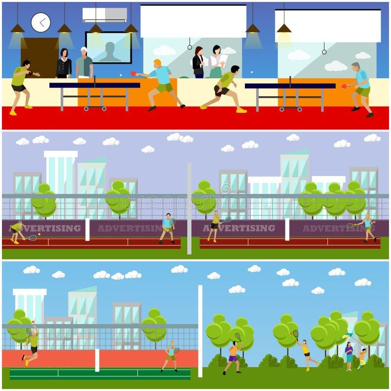 Vektoruppsättning av folk som spelar tennis, bordtennis och badminton royaltyfri illustrationer