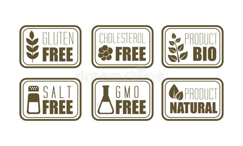 Vektoruppsättning av 6 fria emblem gluten, kolesterol som är salt, GMO för allergen Symbol av naturprodukten Matintolerans vektor illustrationer