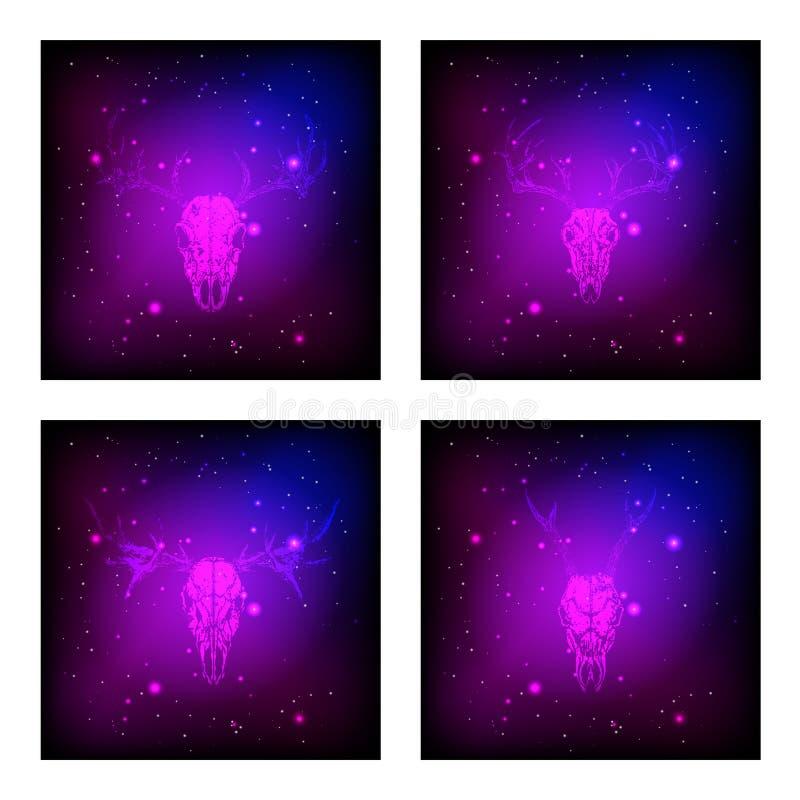 Vektoruppsättning av fyra illustrationer med utdragna skallar hjortar och älg för hand på purpurfärgad och rosa abstrakt bakgrund vektor illustrationer