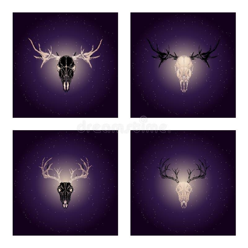 Vektoruppsättning av fyra illustrationer med utdragna svarta skallar hjortar och älg för hand med guld- beståndsdelar mot bakgrun royaltyfri illustrationer