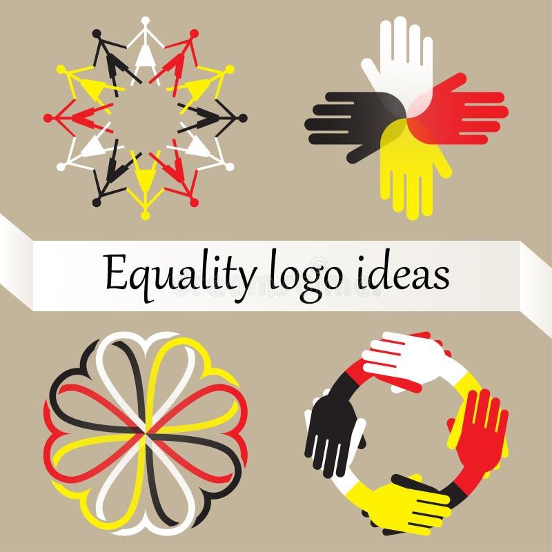 Vektoruppsättning av fyra logoer med jämställdhet, världsfred och ras- mångfaldidé royaltyfri illustrationer