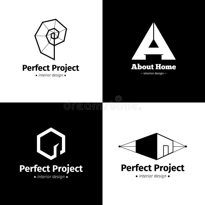 Vektoruppsättning av fyra moderna minimalistic logoer för studio för inredesign Svartvita idérika logotyper stock illustrationer