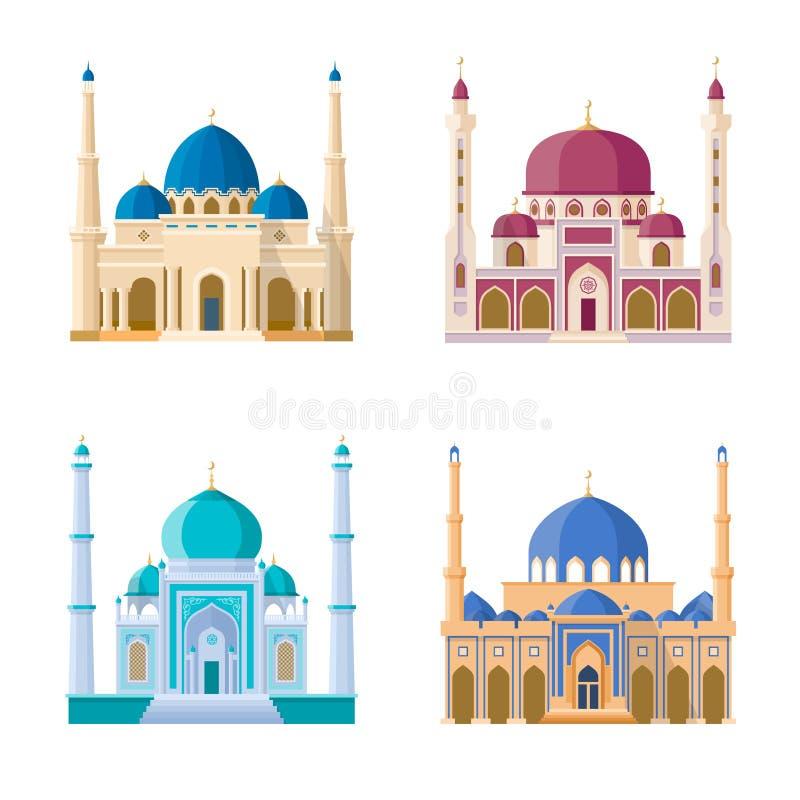 Vektoruppsättning av fyra moskéer Arabiska religionbyggnader Isolat för tecknad filmillustrationuppsättning på vit bakgrund vektor illustrationer