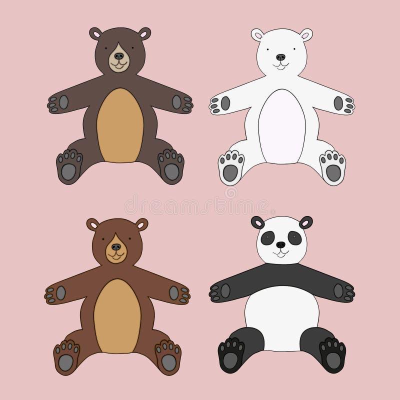 Vektoruppsättning av fyra nallebjörnar vektor illustrationer