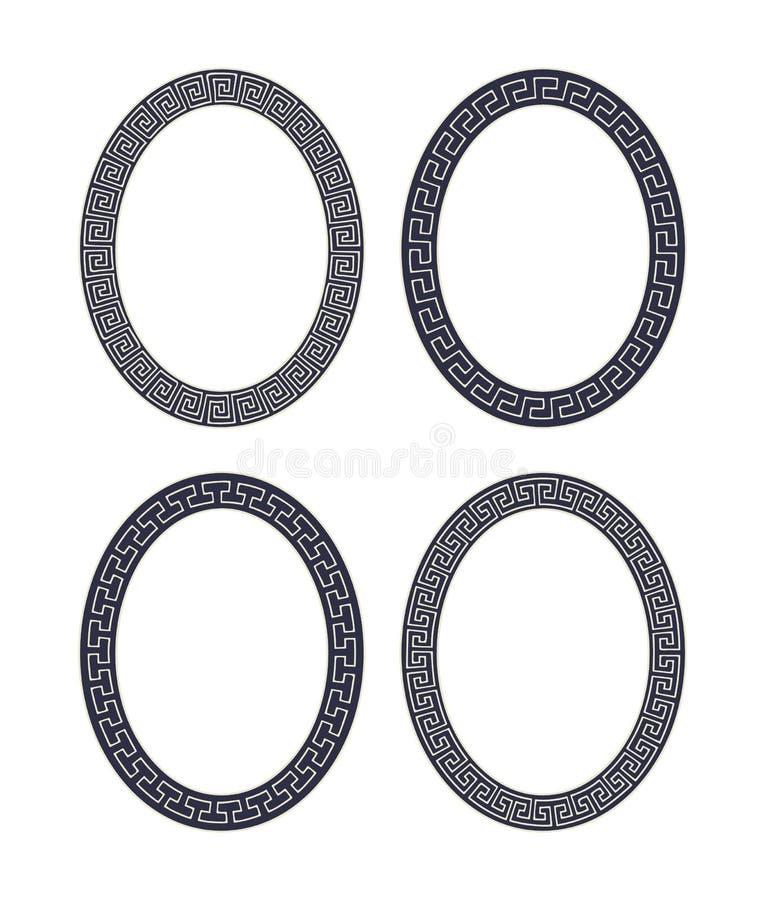 Vektoruppsättning av fyra ovala slingringarramar royaltyfri illustrationer