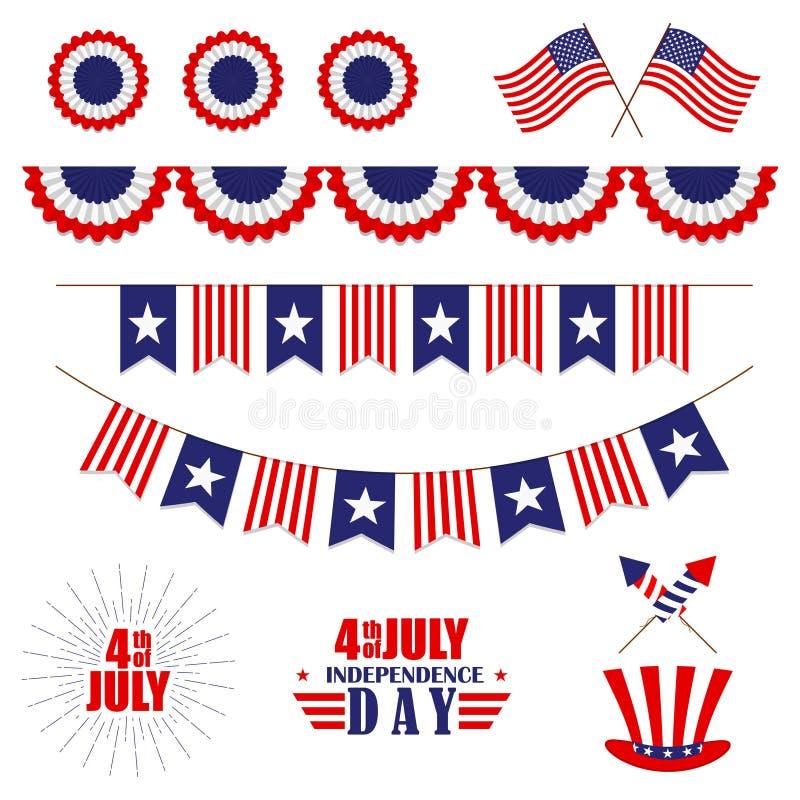 Vektoruppsättning av garnering för 4th Juli Bunting för USA självständighetsdagen Isolerat på vit stock illustrationer
