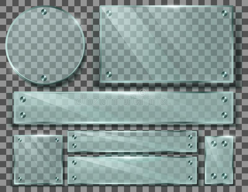 Vektoruppsättning av genomskinliga glass plattor med skruvar royaltyfri illustrationer