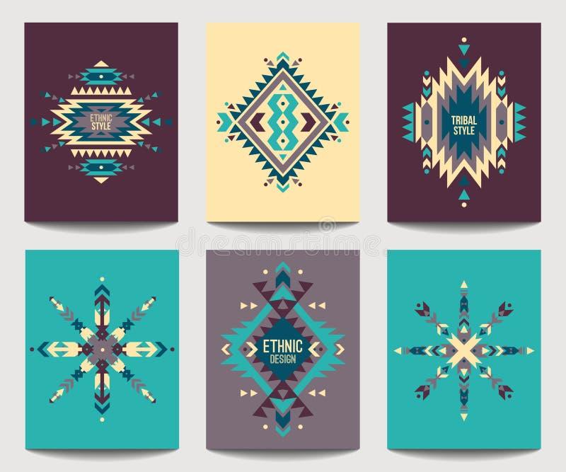 Vektoruppsättning av geometriska abstrakta färgrika reklamblad designperson som tillhör en etnisk minoritet royaltyfri illustrationer