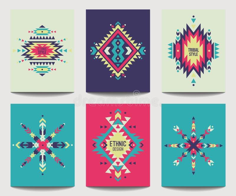 Vektoruppsättning av geometriska abstrakta färgrika reklamblad designperson som tillhör en etnisk minoritet stock illustrationer