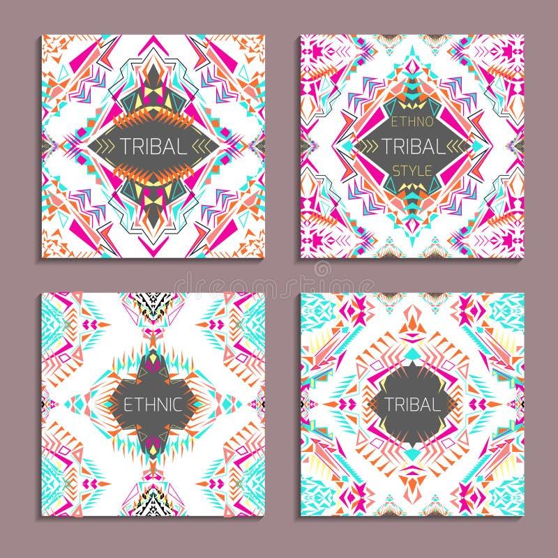 Vektoruppsättning av geometriska färgrika bakgrunder Kortmallar för affär och inbjudan stock illustrationer