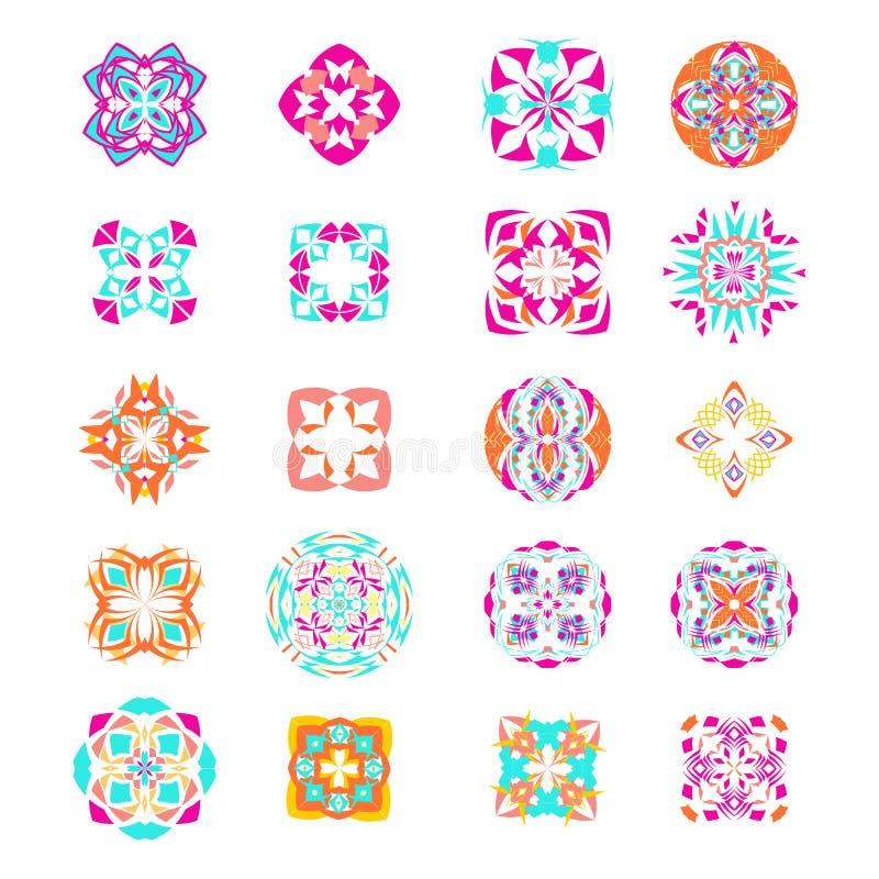 Vektoruppsättning av geometriska mandalas i etnisk bohostil dekorativa element för samling stock illustrationer