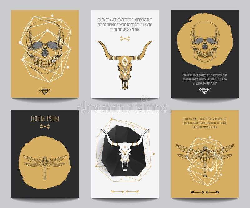 Vektoruppsättning av gotiska affischer stock illustrationer