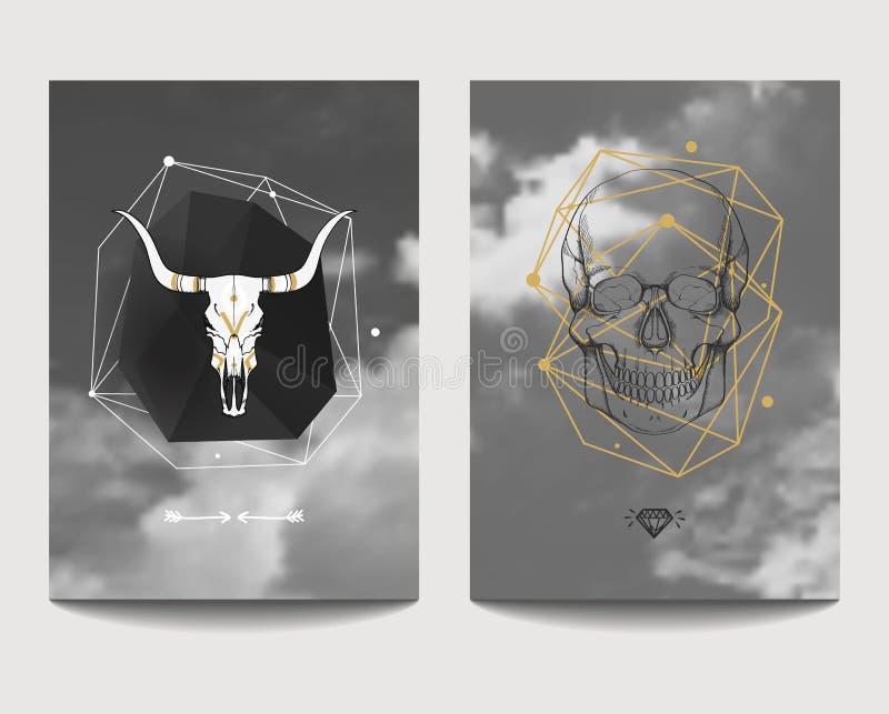 Vektoruppsättning av gotiska stilaffischer med tjur- och människaskallar stock illustrationer
