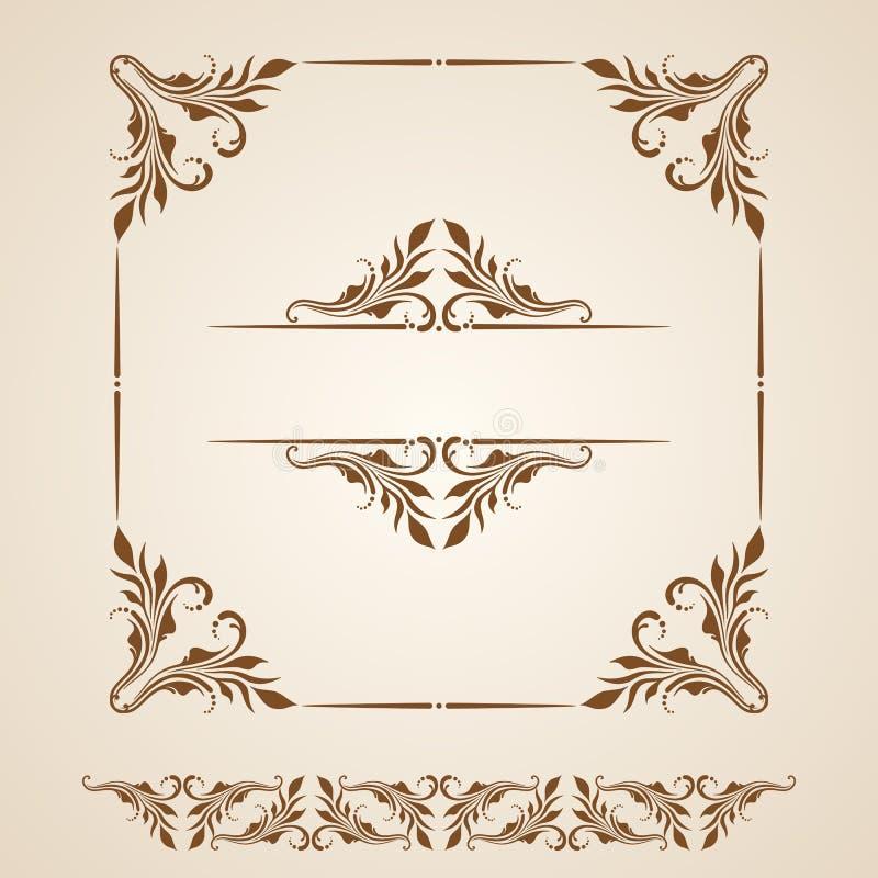Vektoruppsättning av gränser, dekorativa beståndsdelar stock illustrationer