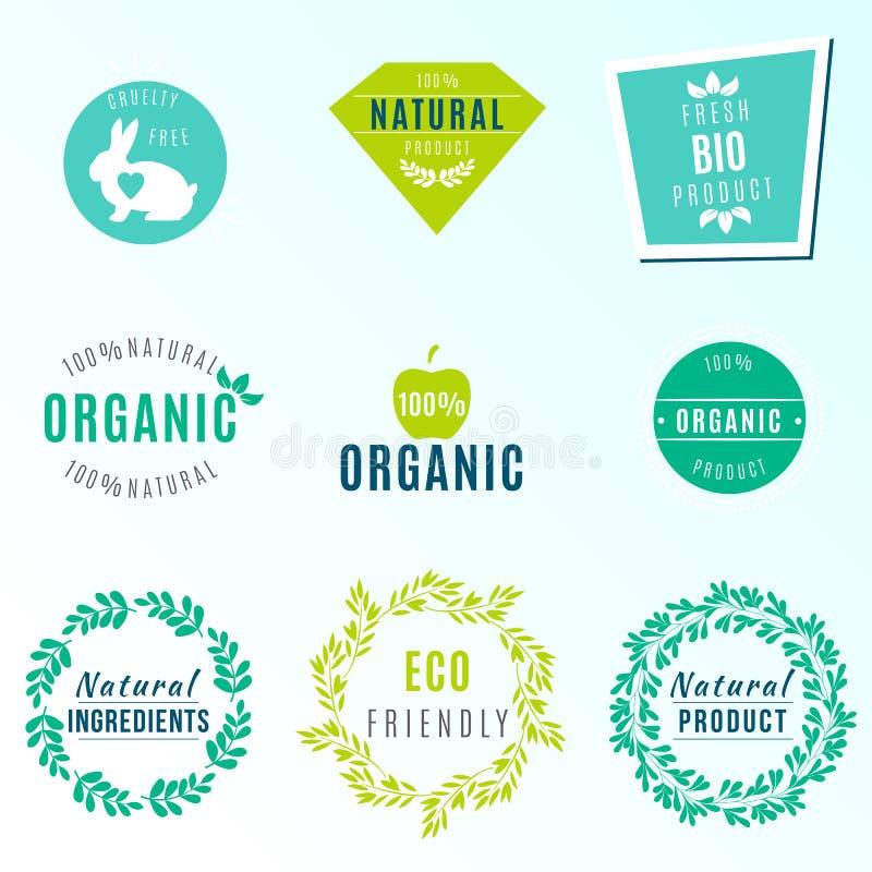 Vektoruppsättning av gräsplanetiketter och emblem med sidor för organiska, naturliga, bio och för eco vänliga produkter som isole royaltyfri illustrationer