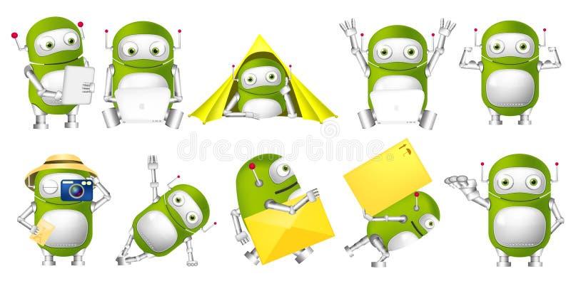 Vektoruppsättning av gröna robotillustrationer royaltyfri illustrationer