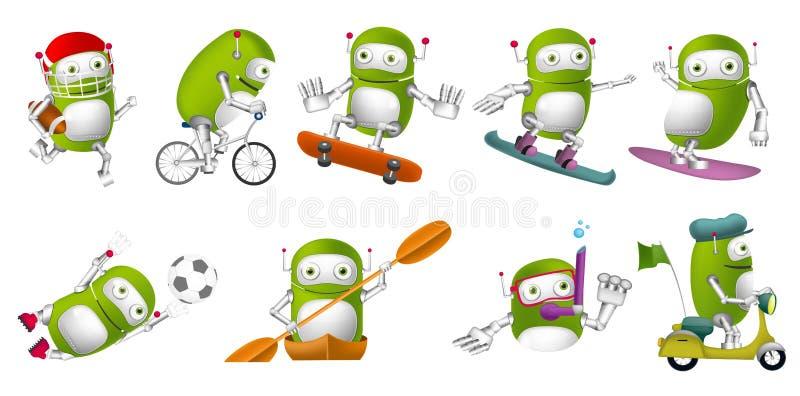 Vektoruppsättning av gröna robotsportillustrationer vektor illustrationer