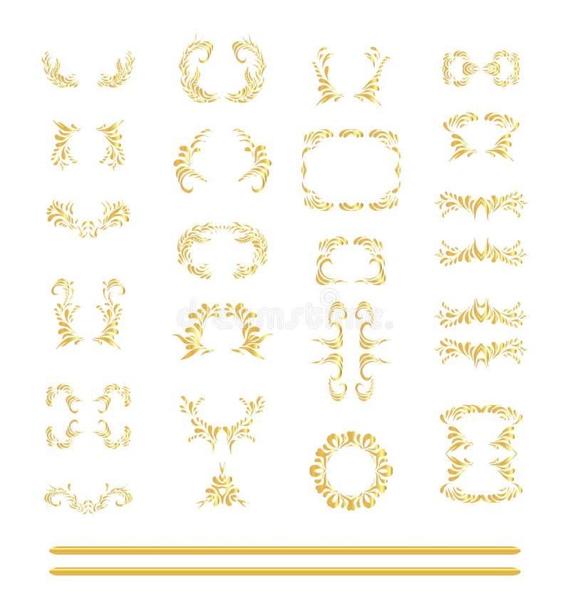 Vektoruppsättning av guld- beståndsdelar vektor illustrationer