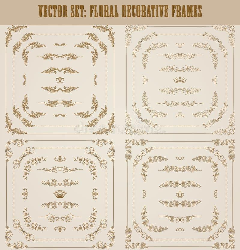 Vektoruppsättning av guld- dekorativa gränser, ram vektor illustrationer