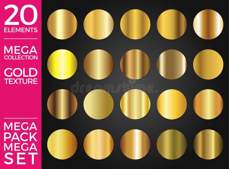 Vektoruppsättning av guld- lutningar, guld- fyrkanter samling, texturgrupp royaltyfri illustrationer