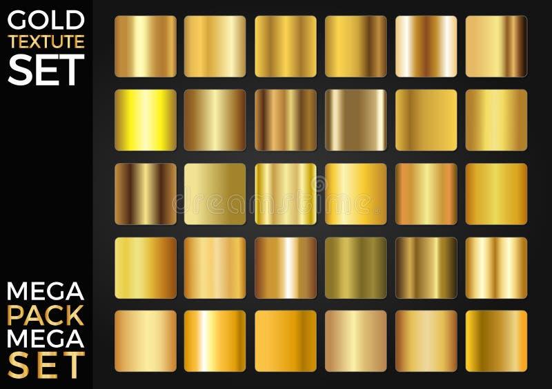 Vektoruppsättning av guld- lutningar, guld- fyrkanter samling, texturgrupp vektor illustrationer