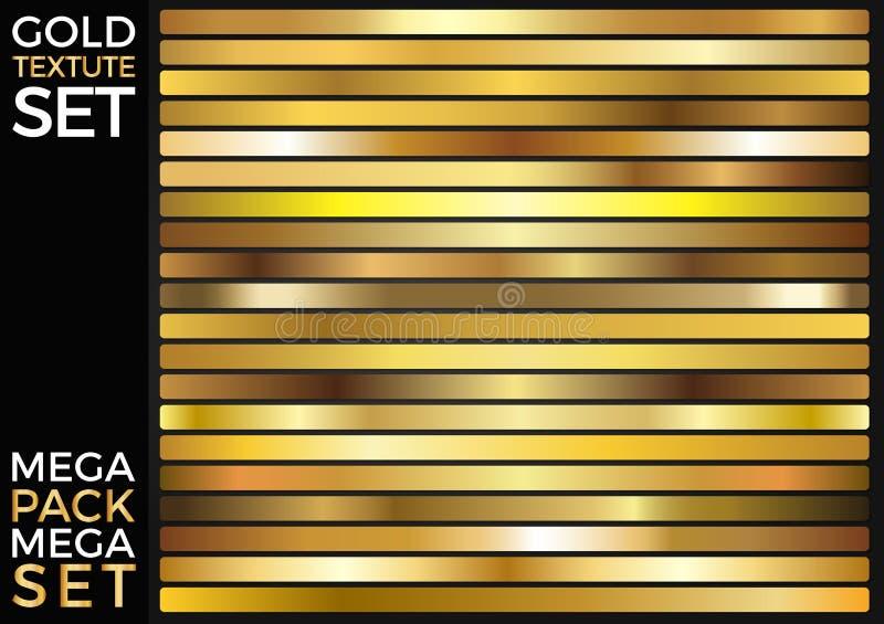 Vektoruppsättning av guld- lutningar, guld- fyrkanter samling, texturgrupp stock illustrationer