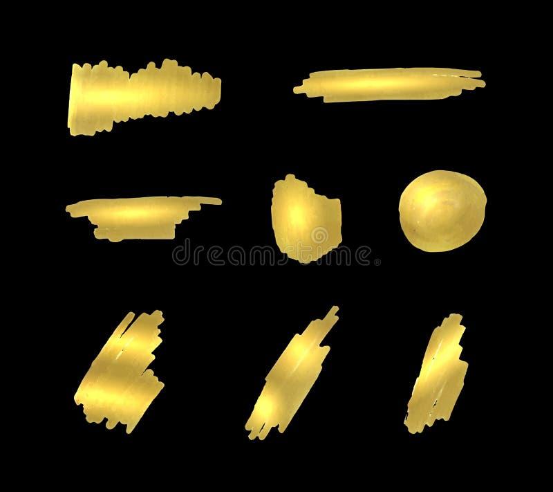 Vektoruppsättning av guld- målarfärgslaglängder, guld- färgmarkör som skiner på svart bakgrund, isolerade borstesudd, realistisk  royaltyfri illustrationer