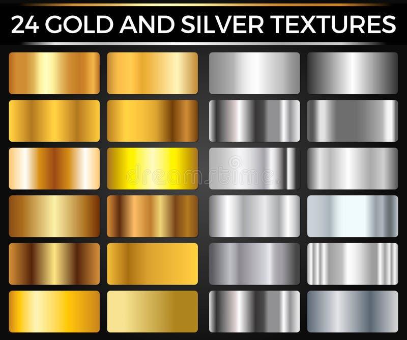 Vektoruppsättning av guld- och silverlutning-, guld- och silverfyrkanter samling, texturgrupp stock illustrationer