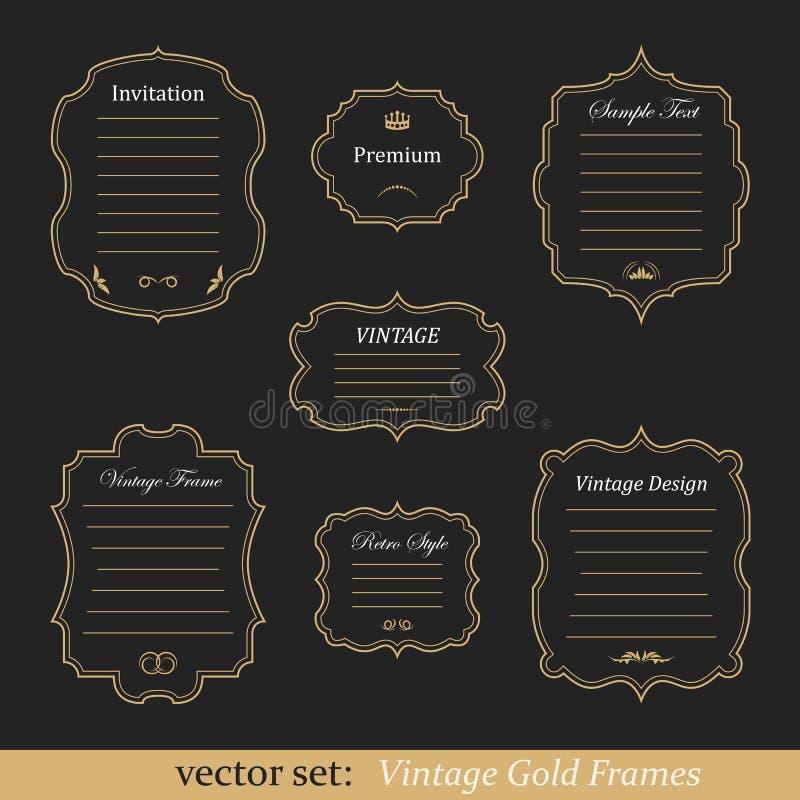 Vektoruppsättning av guld- ramar för tappning vektor illustrationer