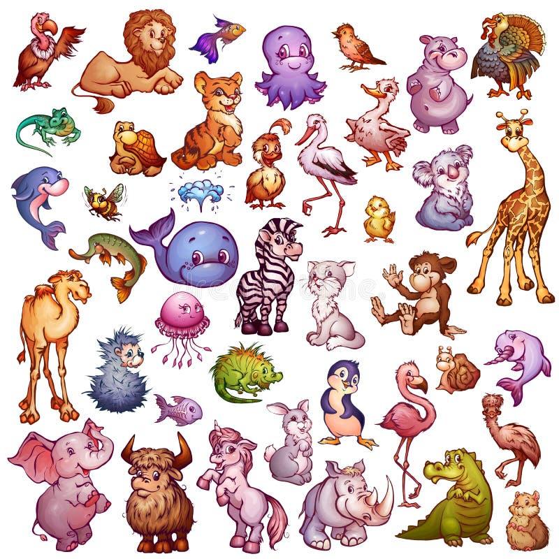 Vektoruppsättning av gulliga djur för husdjuralfabet Lejon, noshörning, giraff och etc. stock illustrationer