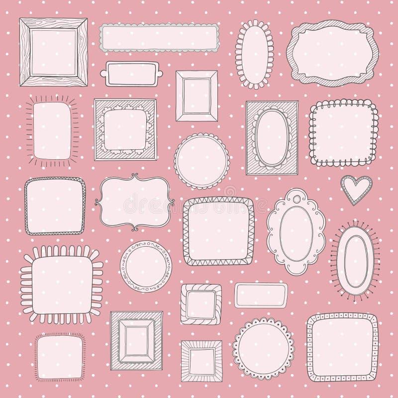 Vektoruppsättning av gulliga fotoramar för tappning på rosa prickmodell royaltyfri illustrationer