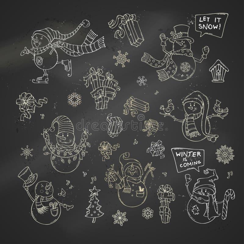 Vektoruppsättning av gulliga kritasnögubbear på svart tavlabakgrund vektor illustrationer